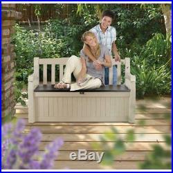 Waterproof Outdoor Storage Box Garden Keter Plastic Large Bench Seat Furniture