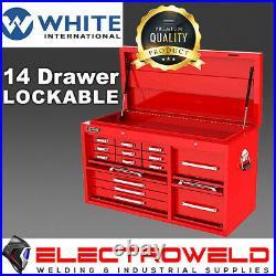 White International Toolbox 14 Draw Cabinet Lockable Tool Chest Box Storage