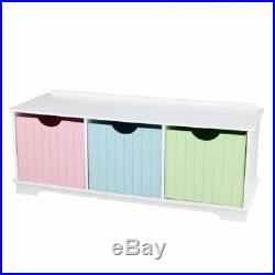 White Toy Box Large Wooden Storage Unit Trunk Bench Drawers Childrens Furniture