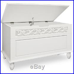 White Wooden Chest Trunk Sideboard Large Storage Laundry Wood Cabinet Box Home