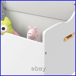 White Wooden Large Storage Chest Toy Chest Clothes Bedding Laundry Blanket Box