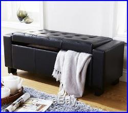 Window Seat Bench Upholstered Longue Chaise Ottoman Storage Box Large Hallway