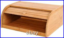 Wooden Bamboo Bread Bin Roll Up Top Food Storage Loaf Kitchen Large Wood Box