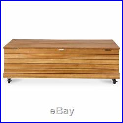 Wooden STORAGE Box GARDEN CUSHION Wheeled OUTDOOR Box Table Water Resistant Shed