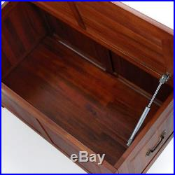 Wooden Storage Box Solid Wood Large Ottoman Blanket Trunk End-Of-Bed Storage New