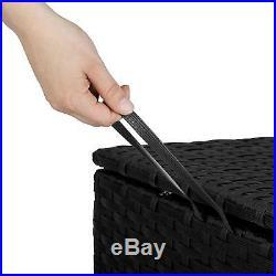 XL Rattan Garden Storage Box Large Chest Trunk Outdoor Cushion Storage Easy Care