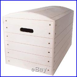 X Large Pirate Plain Wooden Chest Boxes / Unpainted Wood Trunk Storage Toy Box
