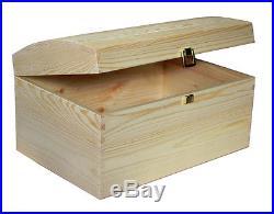 X Large Treasure Chest Plain Wooden Box Decoupage Craft S22 Pirate Box