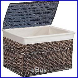 X-large 68cm Brown Rectangular Trunk Wicker Chest LID Storage Basket Case Box