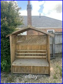 Zest4Leisure Hampshire Wooden Arbour With Storage Box Large 2-seater